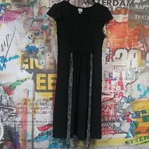Merona black dress with black and white tie